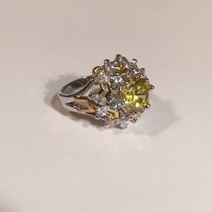 Silver And Yellow Stone Ring Bumble Bee Design